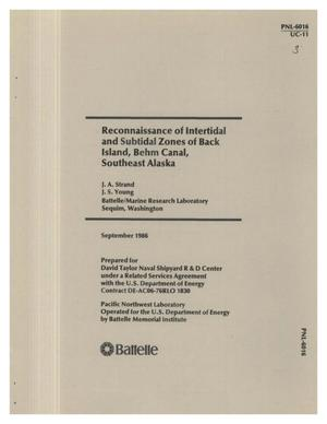 Primary view of object titled 'Reconnaissance of intertidal and subtidal zones of Back Island, Behm Canal, Southeast Alaska'.