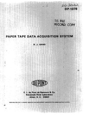 Primary view of object titled 'Paper tape data acquisition system'.