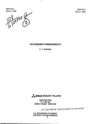 Primary view of Plutonium pyrophoricity
