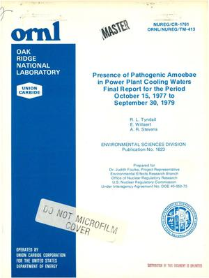Primary view of object titled 'Presence of pathogenic amoebae in power plant cooling waters. Final report, October 15, 1977-September 30, 1979. [Naegleria fowleri]'.