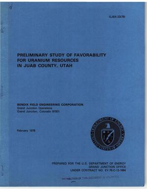 Primary view of object titled 'Preliminary study of favorability for uranium resources in Juab County, Utah'.
