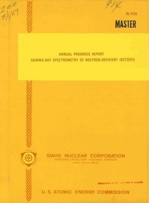 Primary view of object titled 'Gamma-ray spectrometry of neutron-deficient isotopes. Annual Progress Report'.