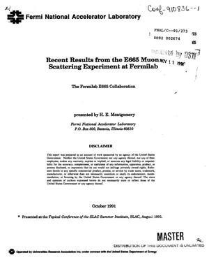 Primary view of object titled 'Recent results from the E665 muon scattering experiment at Fermilab'.