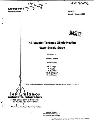 Primary view of object titled 'TNS Doublet tokamak ohmic-heating power supply study'.