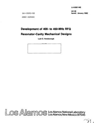 Primary view of object titled 'Development of 400- to 450-MHz RFQ resonator-cavity mechanical designs'.