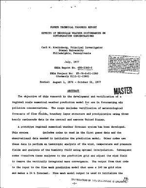 Primary view of object titled 'Effects of mesoscale weather disturbances on contamination concentrations. Fourth technical progress report, August 1, 1976--October 31, 1977'.