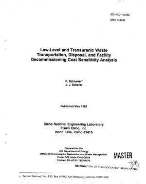 Primary view of object titled 'Low-level and transuranic waste transportation, disposal, and facility decommissioning cost sensitivity analysis'.