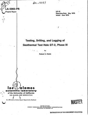 Primary view of object titled 'Testing, drilling, and logging of geothermal test hole GT-2, Phase III. [Drilling depth of 2932 m]'.