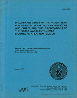 Primary view of object titled 'Preliminary study of the favorability for uranium in the Madera Limestone, and Cutler and Chinle Formations of the Sierra Nacimiento-Jemez Mountains area, New Mexico'.