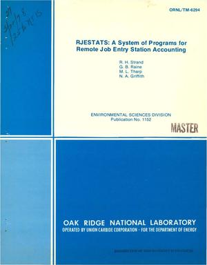Primary view of object titled 'RJESTATS: a system of programs for remote job entry station accounting'.