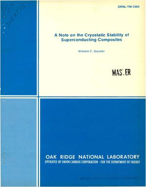 Primary view of object titled 'Note on the cryostatic stability of superconducting composites'.