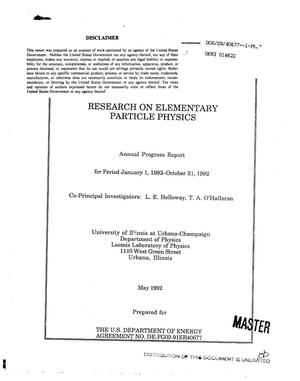 Primary view of object titled 'Research on elementary particle physics'.