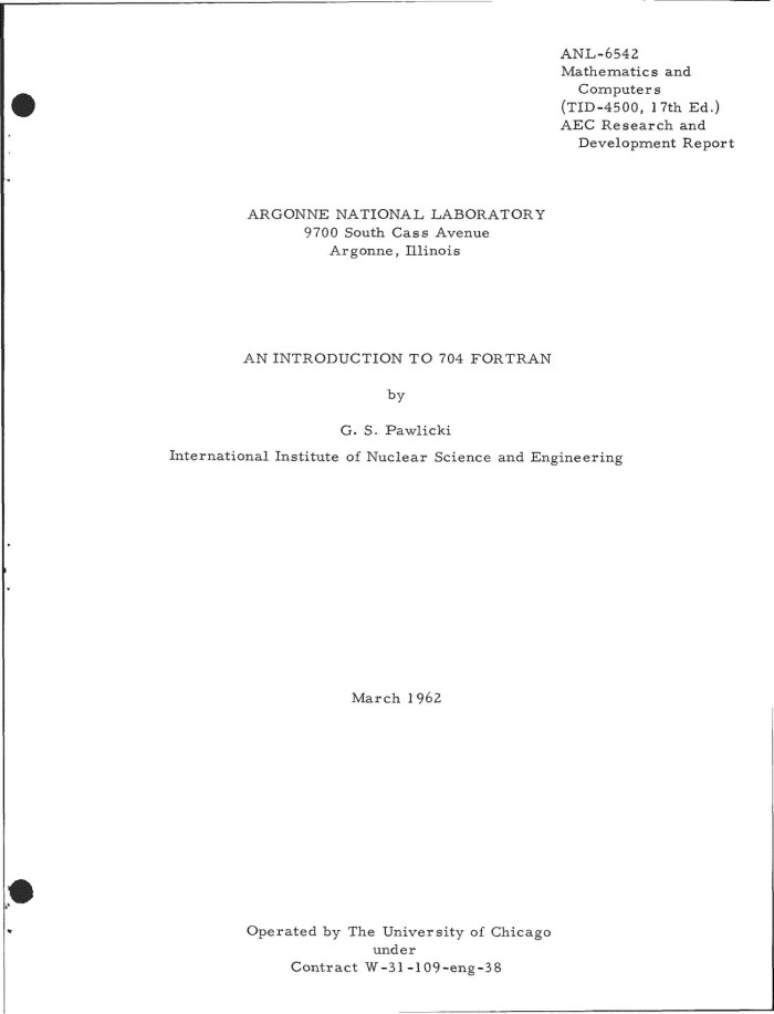 AN INTRODUCTION TO 704 FORTRAN - Digital Library