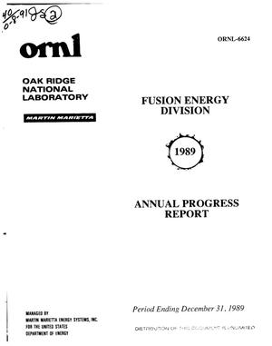 Primary view of object titled 'Fusion Energy Division annual progress report, period ending December 31, 1989'.