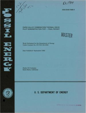 Primary view of object titled 'Paris Valley Combination Thermal Drive Pilot Demonstration Test. Final report'.