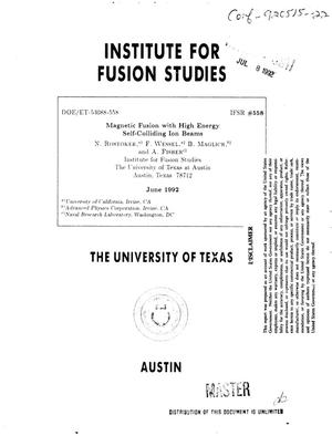 Primary view of object titled 'Magnetic fusion with high energy self-colliding ion beams'.