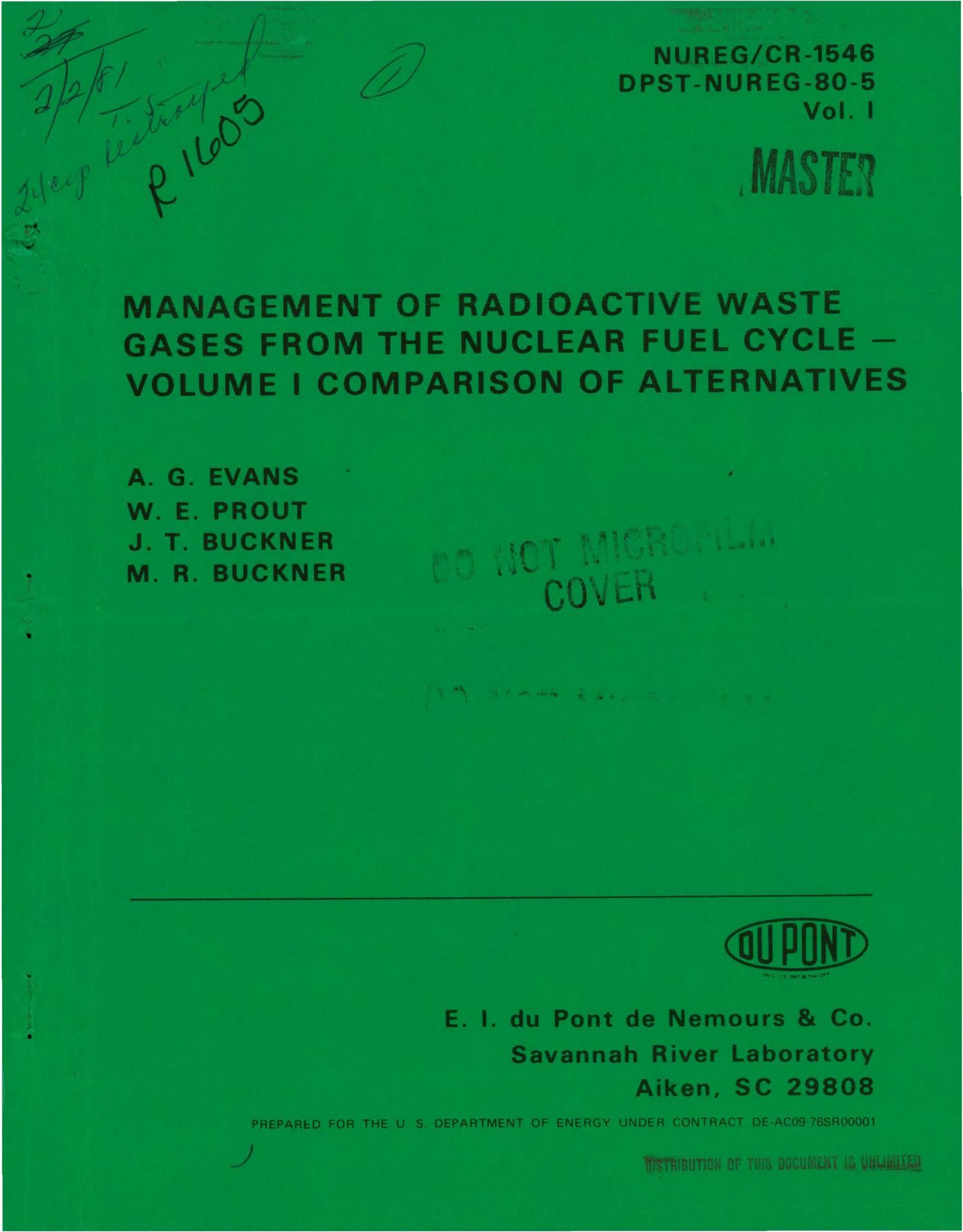 Management Of Radioactive Waste Gases From The Nuclear Fuel Cycle. Volume  I. Comparison Of Alternatives   Digital Library