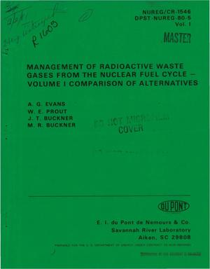 Primary view of object titled 'Management of radioactive waste gases from the nuclear fuel cycle. Volume I. Comparison of alternatives'.