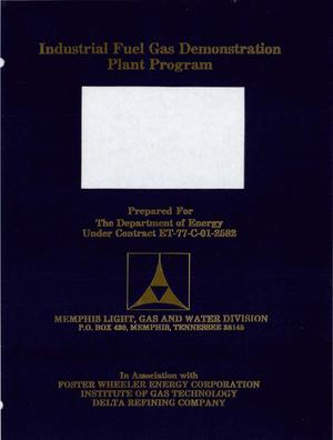 Primary view of object titled 'Industrial Fuel Gas Demonstration Plant Program. Monthly and quarterly progress report, 1 April 1978-30 June 1978 (Deliverable No. 12)'.