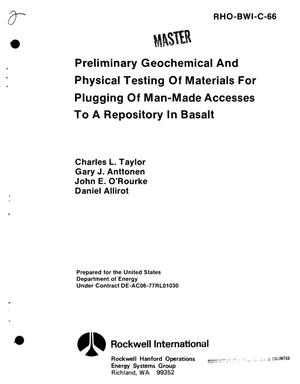Primary view of object titled 'Preliminary geochemical and physical testing of materials for plugging of man-made accesses to a repository in basalt'.