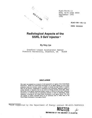 Primary view of object titled 'Radiological aspects of the SSRL 3 GeV injector'.