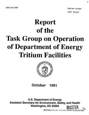 Primary view of object titled 'Report of the Task Group on operation Department of Energy tritium facilities'.