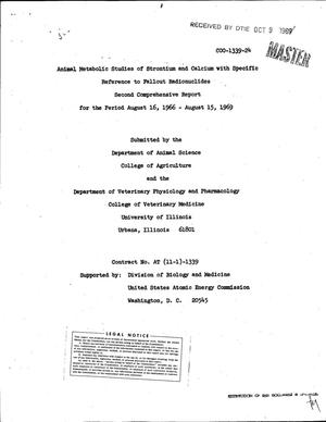 Primary view of object titled 'Animal Metabolic Studies of Strontium and Calcium With Specific Reference to Fallout Radionuclides. Second Comprehensive Report, August 16, 1966--August 15, 1969.'.