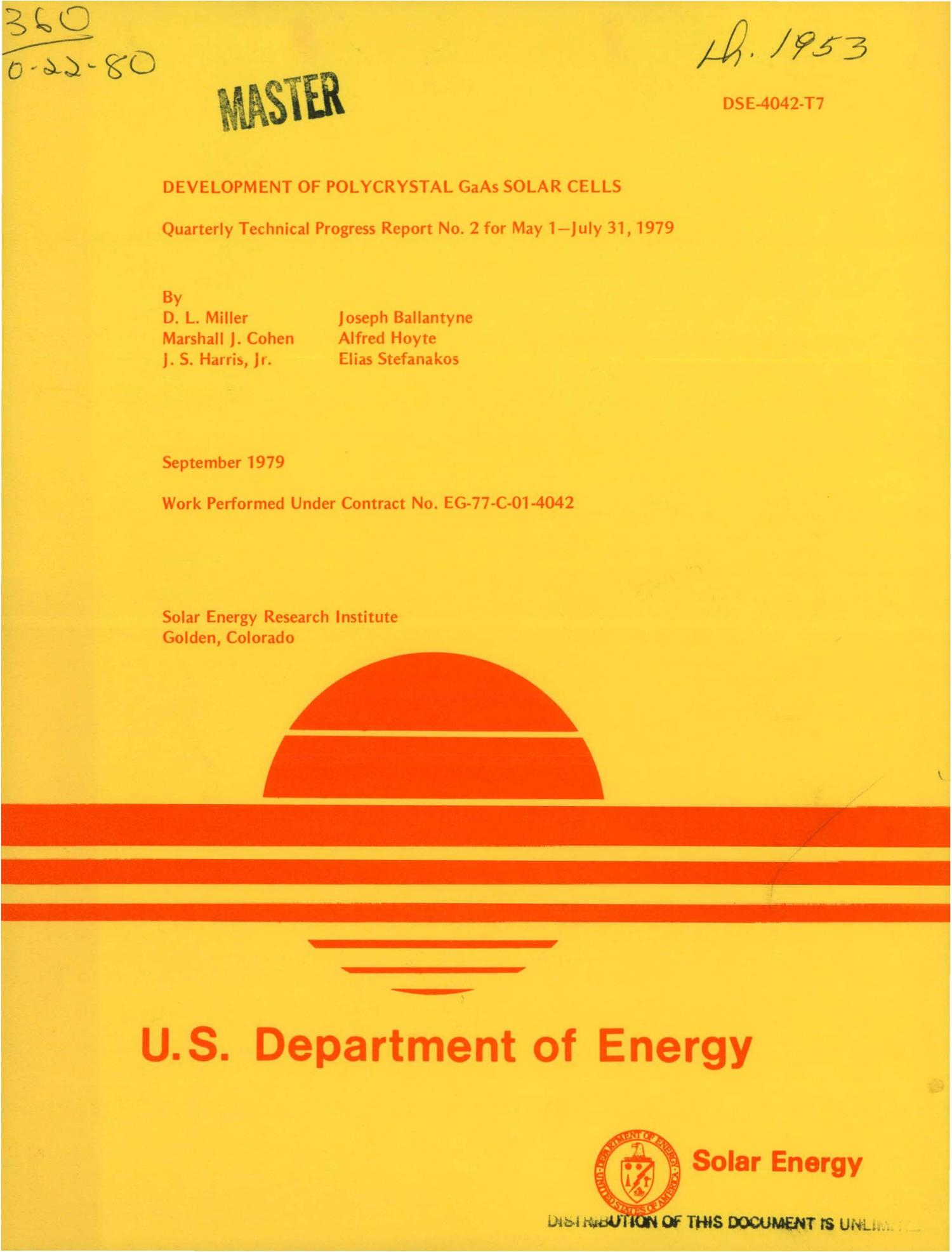 Development of polycrystal GaAs solar cells. Quarterly technical progress report No. 2 for May 1-July 31, 1979                                                                                                      [Sequence #]: 1 of 77