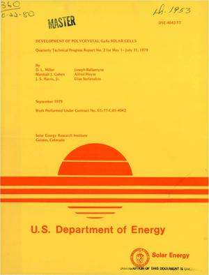 Primary view of object titled 'Development of polycrystal GaAs solar cells. Quarterly technical progress report No. 2 for May 1-July 31, 1979'.