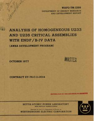 Primary view of object titled 'Analysis of homogeneous U233 and U235 critical assemblies with ENDF/B-IV data (AWBA development program)'.