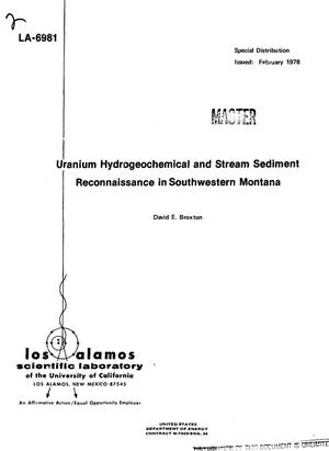 Primary view of object titled 'Uranium Hydrogeochemical and Stream Sediment Reconnaissance in southwestern Montana'.