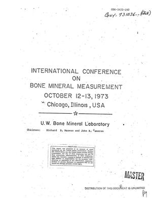 Primary view of object titled 'International conference on bone mineral measurement, October 12--13, 1973, Chicago, Illinois'.