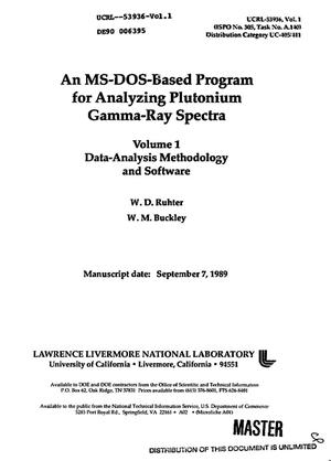 Primary view of object titled 'An MS-DOS-based program for analyzing plutonium gamma-ray spectra'.