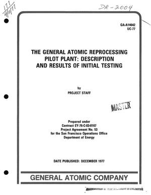 Primary view of object titled 'General Atomic reprocessing pilot plant: description and results of initial testing'.