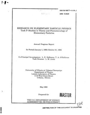 Primary view of object titled 'Research on elementary particle physics: Task P, Studies in theory and phenomenology of elementary particles'.