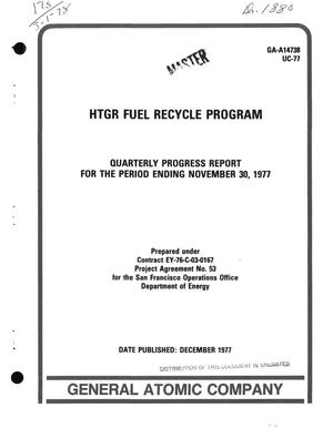 Primary view of object titled 'HTGR fuel recycle program. Quarterly progress report for the period ending November 30, 1977'.