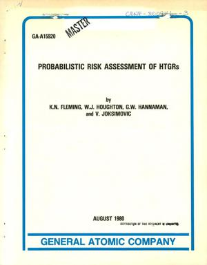 Primary view of object titled 'Probabilistic risk assessment of HTGRs'.