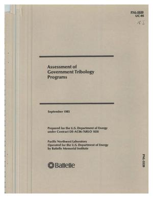 Primary view of object titled 'Assessment of government tribology programs'.