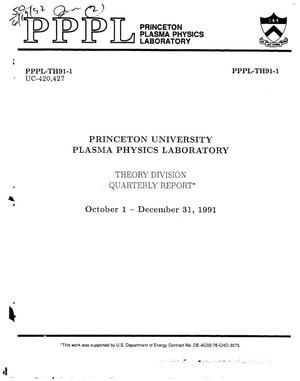 Primary view of object titled 'Princeton University Plasma Physics Laboratory: Quarterly report, October 1--December 31, 1991'.