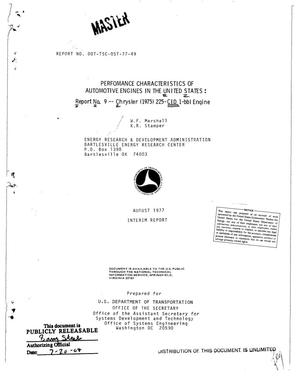 Primary view of object titled 'Performance characteristics of automotive engines in the United States: Report No. 9, Chrysler (1975) 225-CID 1-bbl engine'.
