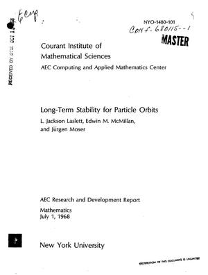 Primary view of object titled 'LONG-TERM STABILITY FOR PARTICLE ORBITS.'.