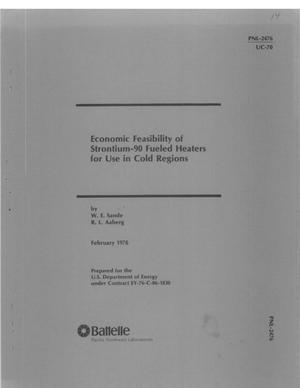 Primary view of object titled 'Economic feasibility of strontium-90 fueled heaters for use in cold regions'.