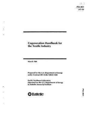 Primary view of object titled 'Cogeneration handbook for the textile industry. [Contains glossary]'.