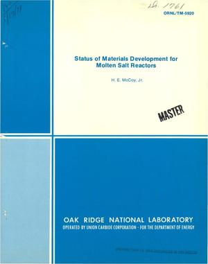Primary view of object titled 'Status of materials development for molten salt reactors'.