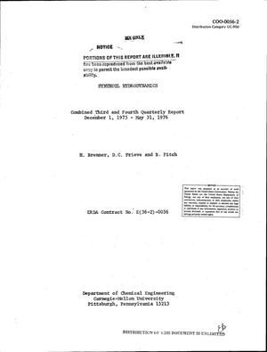 Primary view of object titled 'Synthoil hydrodynamics. Combined third and fourth quarterly report, December 1, 1975--May 31, 1976'.