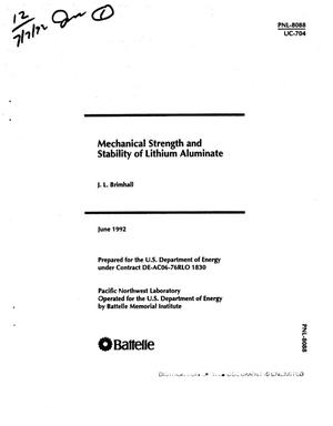 Primary view of object titled 'Mechanical strength and stability of lithium aluminate'.