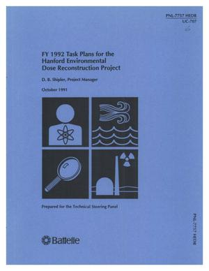 Primary view of object titled 'FY 1992 task plans for the Hanford Environmental Dose Reconstruction Project'.