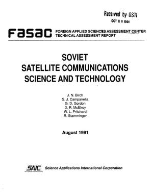 Primary view of object titled 'Soviet satellite communications science and technology'.