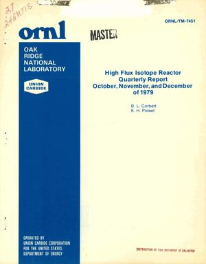 Primary view of object titled 'High Flux Isotope Reactor. Quarterly report, October, November, and December 1979'.