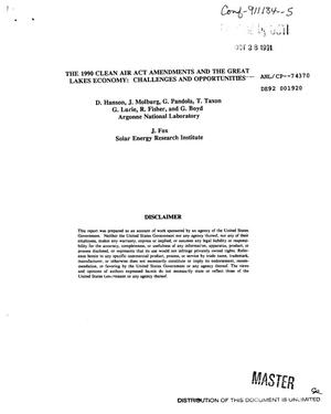 Primary view of object titled 'The 1990 Clean Air Act Amendments and the Great Lakes economy: Challenges and opportunities'.